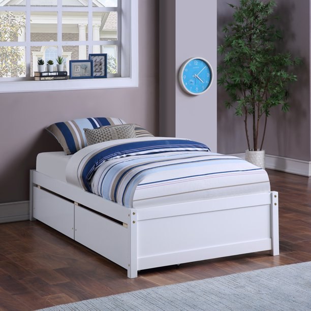 """Wood Twin Platform Bed With 2 Storage Drawers, for Kids Teens Boys Girls Bedroom Living Room Furniture, No Box Spring Needed, White 79.5""""L*41.75""""W*15.6""""H"""
