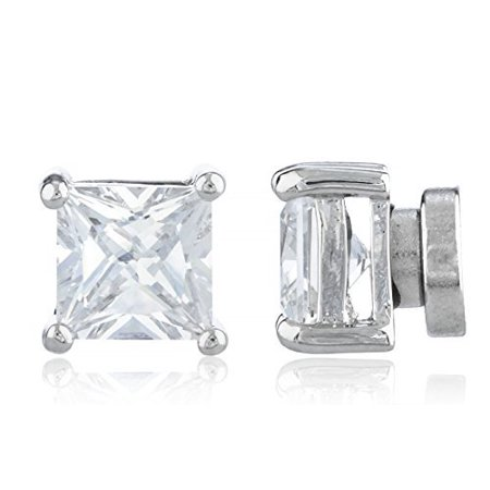 Silvertone Magnetic Earrings with Clear Cz Square - 4mm to 12mm (6 Millimeters) 4mm Square Shaped Earring