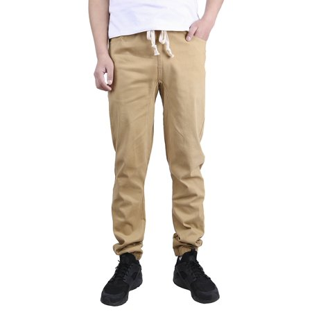 Mens Chino Pants Khaki (HDE Mens Khaki Joggers Casual Basic Twill Chino Pants )