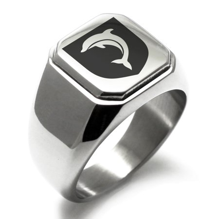 Stainless Steel Dolphin Diligence Coat of Arms Shield Engraved Square Flat Top Biker Style Polished Signet Ring](Ring Mistress Jacket)