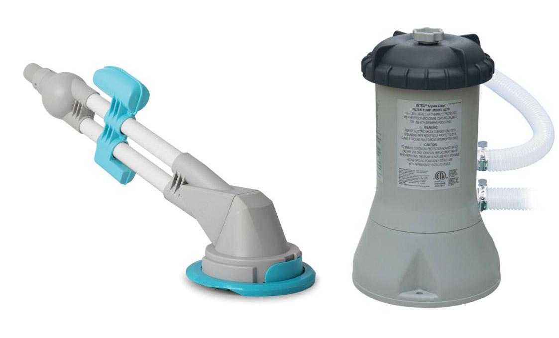Intex 1000 GPH Swimming Pool Filter Pump w GFCI & Kokido Zappy Max Vacuum by Intex
