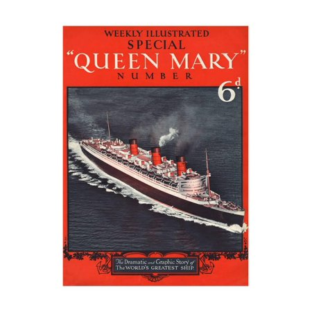 Front Cover of Weekly Illustrated Magazine - Queen Mary (Steamship) Special Issue Print Wall Art