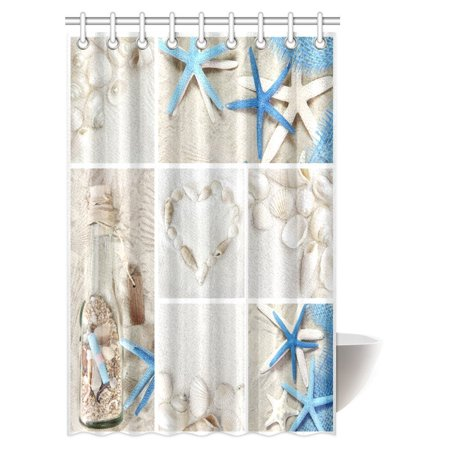 MYPOP Collage of Summer Seashells Decor Shower Curtain, Seacoast with Sand Colorful Various Seashells and Starfish Tropics Aquatic Wildlife Theme Fabric Bathroom Set with Hooks, 48 X 72 Inches ()