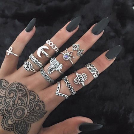 13pc/set Bohemian Vintage Women Silver Gold Elephant Finger Rings Knuckle Rings Jewelry Gift Jewelry Accessories (Silver) (Vintage Jewelry Silver)