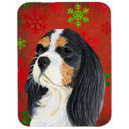 Carolines Treasures LH9324LCB Cavalier Spaniel Red And Green Snowflakes Christmas Glass Cutting Board, Large - image 1 de 1