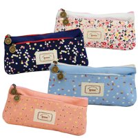IPOW Clear Zipper Canvas Pencil Pouch Flower Floral Colored Pencil Pouches Soft Pen Bag Stationery Storage Case for School Students, Girls, Kids, Artists, Makeup Cosmetic Cases, 4 Pack