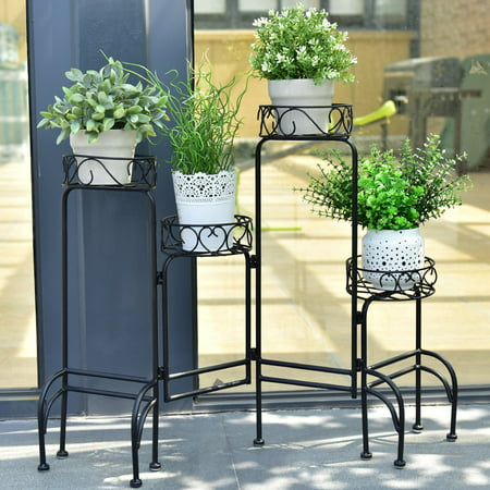 Wrought Iron Plant Stand - Costway 4 IN 1 Heavy Duty Metal Flower Pot Rack Plant Display Stand Shelf Holder Garden