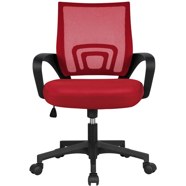Smilemart Mid Back Adjustable Rolling Desk Chair, Red