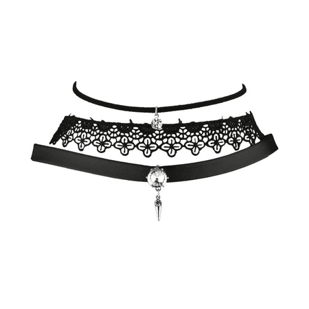 - Lux Accessories Black Trendy Faux Suede PU Leather Lace Choker Set (3PCS)