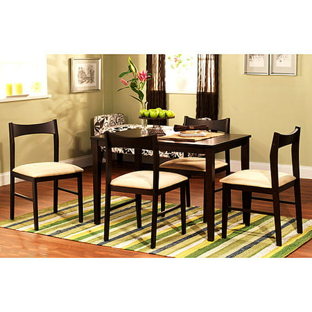 Contemporary 5-Piece Dining Set, Espresso - Walmart.com