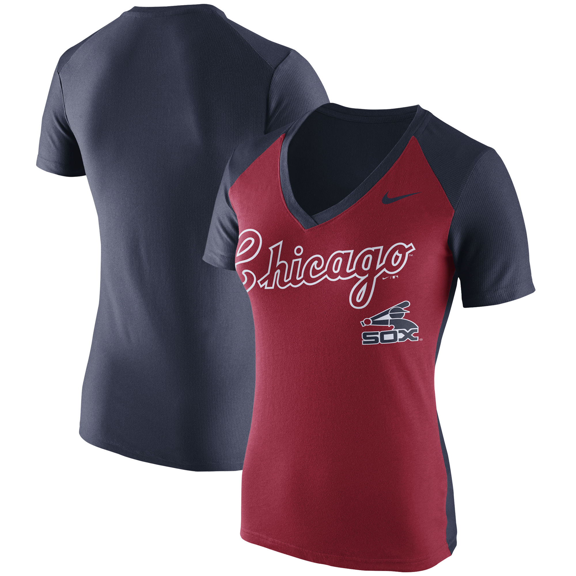 Women's Nike Red Chicago White Sox Cooperstown Collection Throwback Logo V-Neck T-Shirt