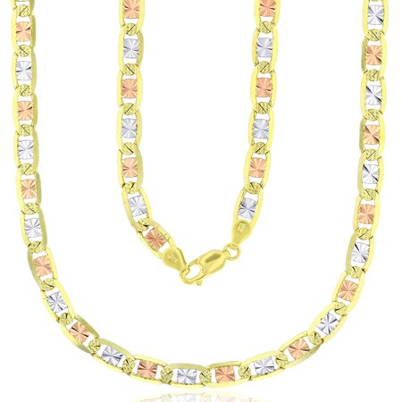 14K Tricolor Gold 2mm-6mm Diamond Cut Valentino Chain with Star or Heart Styles | Italian Gold Chain | Valentino Necklaces For Men and Women Gold Star Heart