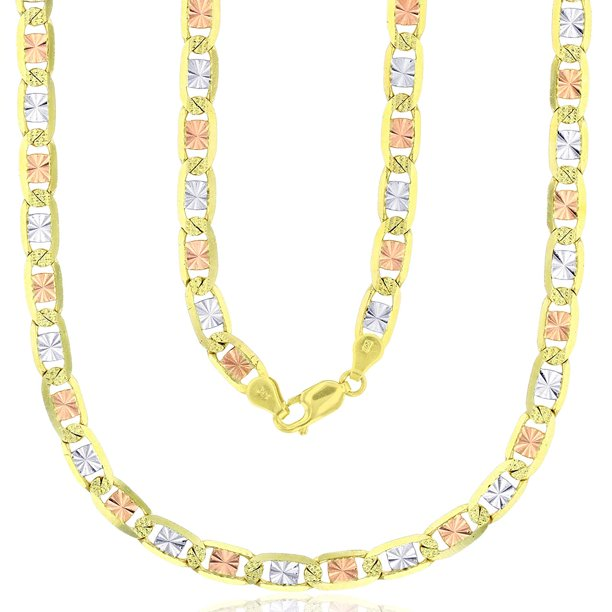 14K Tricolor Gold 2mm-6mm Diamond Cut Valentino Chain with Star...