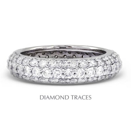 Platinum Pave Diamond Setting - UD-EWB458-3745 Platinum 950 Pave Setting 1.56 Carat Total Natural Diamonds Three Row Band Eternity Ring