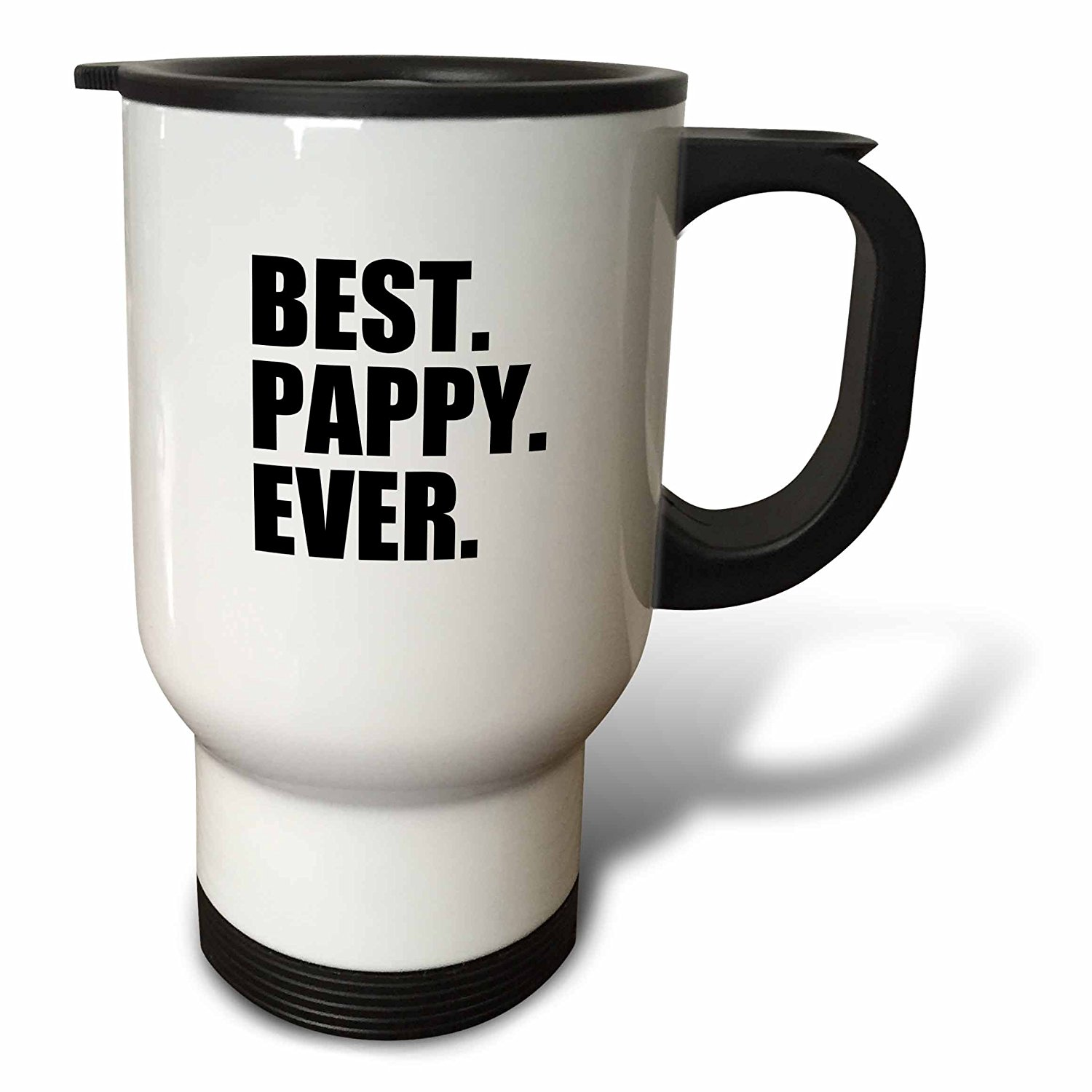 3dRose Best Pappy Ever - Gifts for Grandfathers - Granddad Grandpa nicknames - black text - family gifts, Travel Mug, 14oz, Stainless Steel