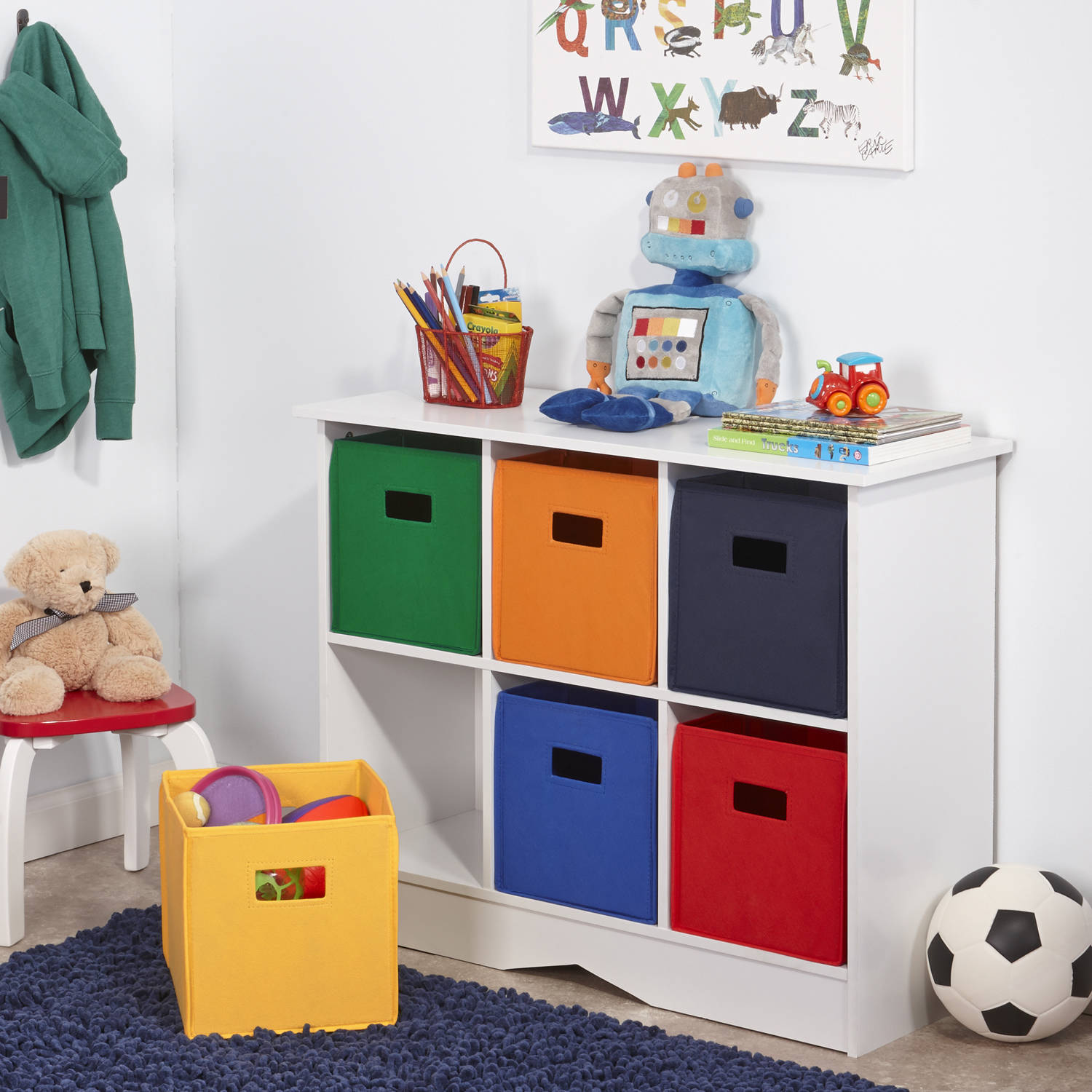 New Kids Playroom Nursery Storage Cabinet With 6 Bins White And Primary Tones