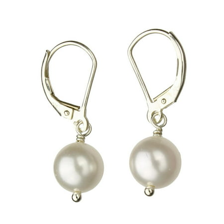 Sterling Silver Leverback Earrings White 8mm Simulated Pearl Made with Swarovski (White Swarovski Crystal Pearls)