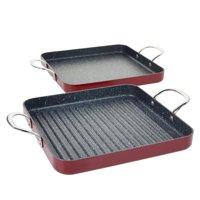 Curtis Stone Dura-Pan Nonstick Square Grill Pan and Griddle Pan-Refurbished