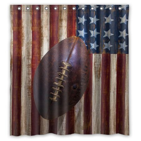 GreenDecor Vintage Old American Football On American Flag Waterproof Shower Curtain Set with Hooks Bathroom Accessories Size 66x72 - Football Curtains