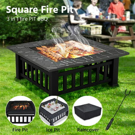 Yaheetech 32''Outdoor Metal Firepit Backyard Patio Garden Square Stove Fire Pit With cover ()