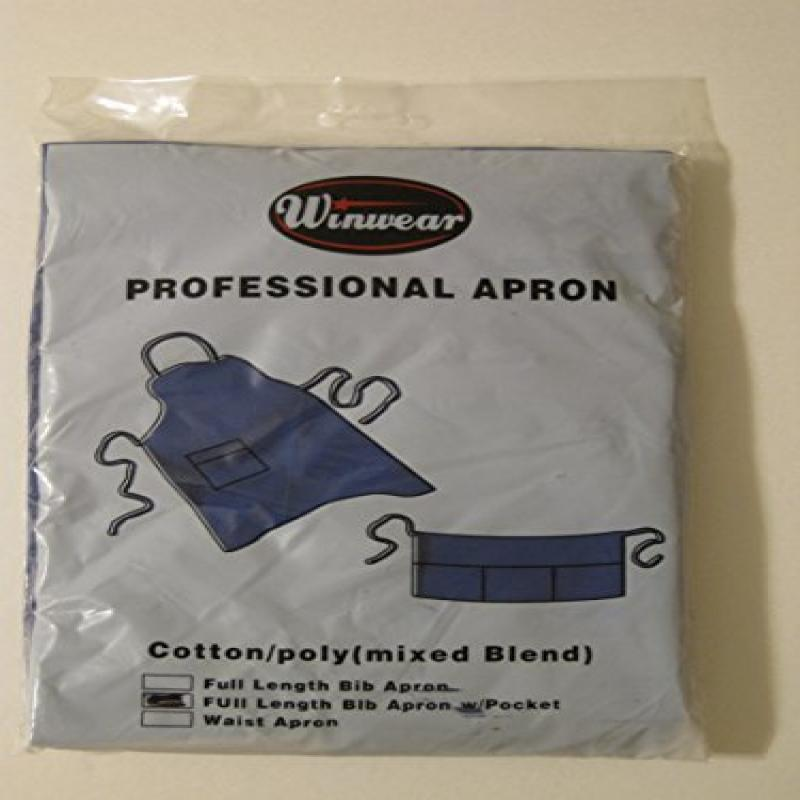 Full Length Blue Bib Apron with Pocket