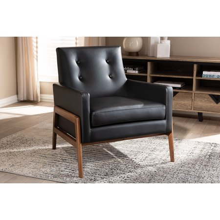 Baxton Studio Perris Mid-Century Modern Black Faux Leather Upholstered Walnut Wood Lounge Chair