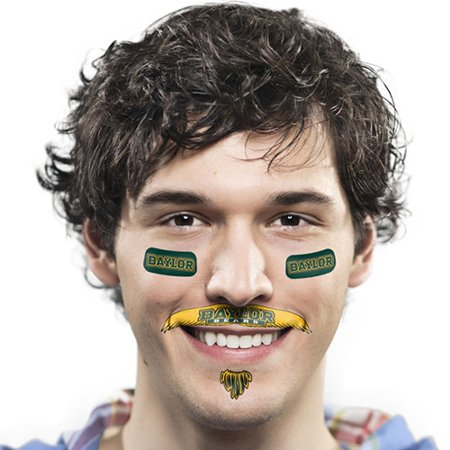 Baylor Bears Mustache Temporary Tattoo Pack - No - Finger Mustache Tattoo