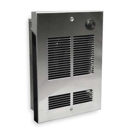 DAYTON 5ZK64 120VAC, 1000W Electric Wall Heater, Stainless - 1000w Wall Fan Heater