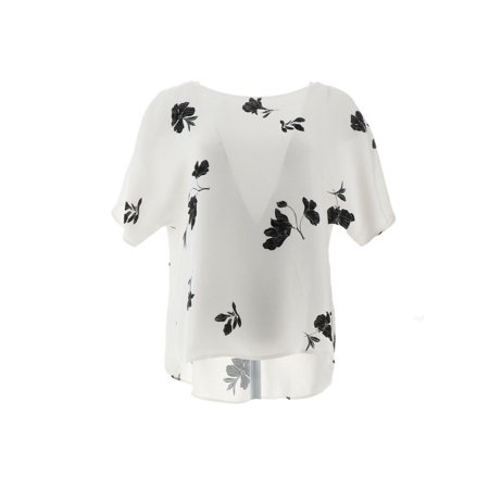 Vince Camuto Tossed Flowers Printed Pleat Blouse A352434