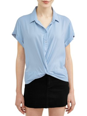 94db6d356 Product Image Juniors' Short Sleeve Button Twist Front Blouse