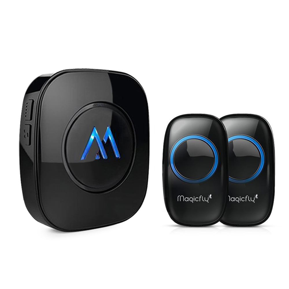 Magicfly Portable Wireless Doorbell Chime Kit 1000-feet Range 52 Melodies 2 Push Remote Button+1 Door Chime
