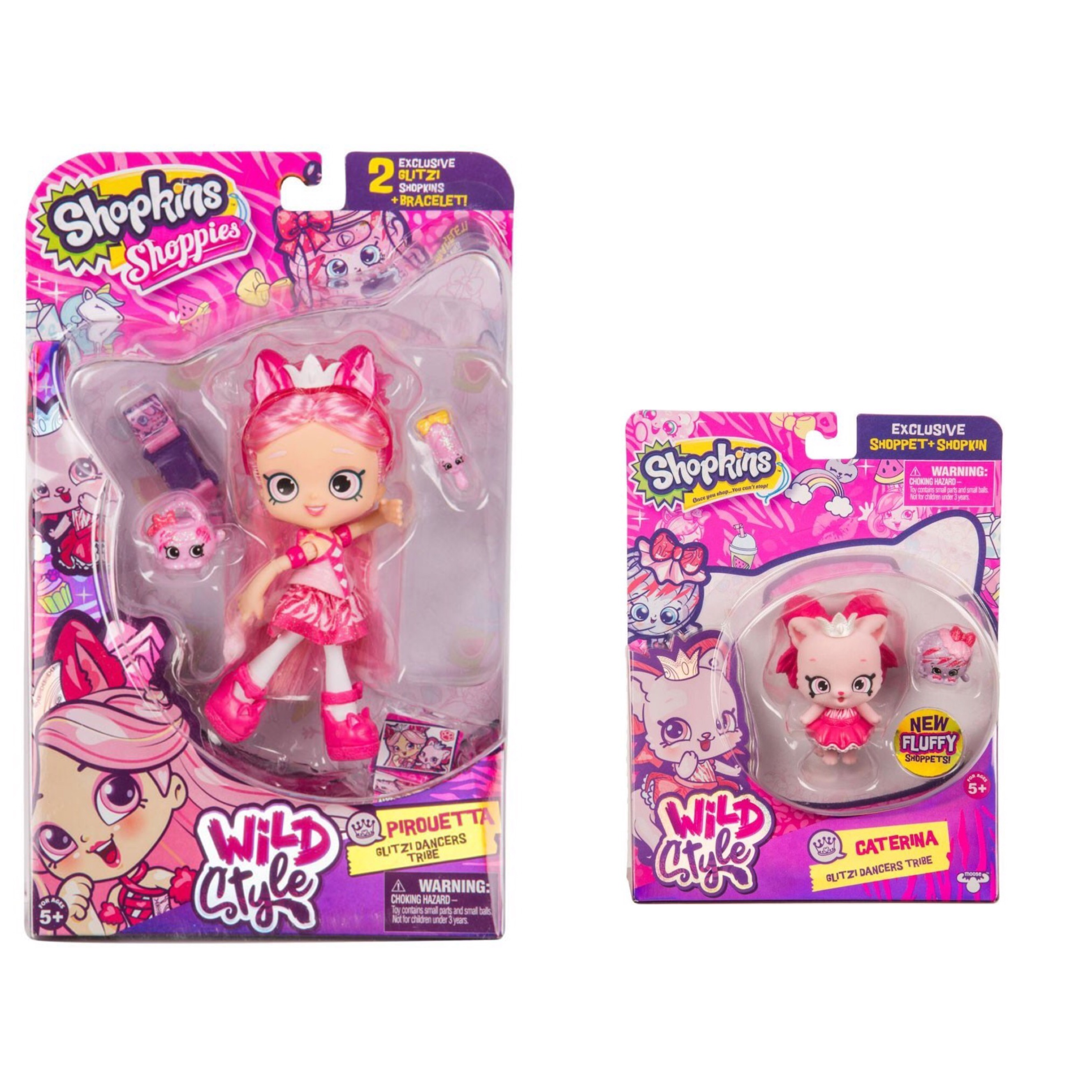 Shopkins Wild Style Pirouetta Doll and Caterina Shoppet Glitzi Dancers Tribe Bundle