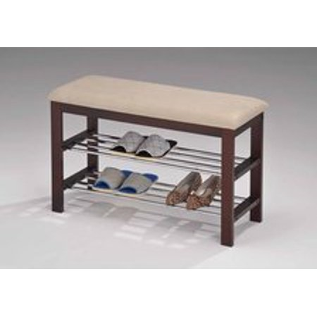 Legacy Decor Walnut and Beige Wood Shoe Bench with Two Metal Racks and Vinyl Seat Cushion ()