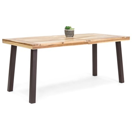 Extension Outdoor Dining Table - Best Choice Products 6-Person Indoor Outdoor Rustic Acacia Wood Picnic Dining Table with Metal Finish Legs, Brown