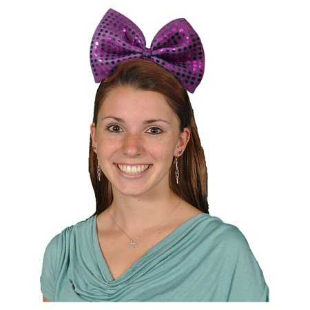 Big Purple Bowtie Sequin Light Up Flashing Bow Headband Costume Accessory](Purple Head Band)