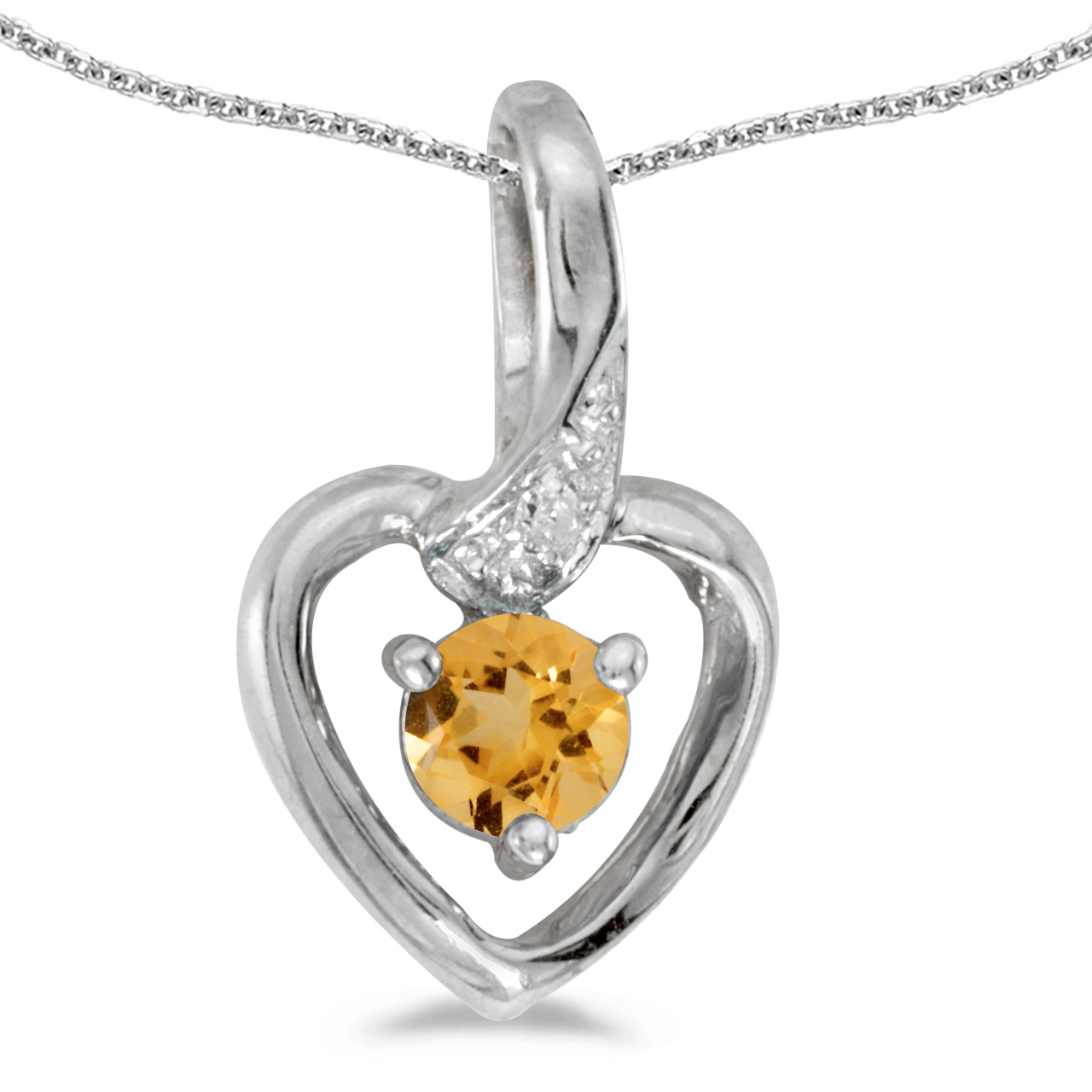 """10k White Gold Round Citrine And Diamond Heart Pendant with 16"""" Chain by"""