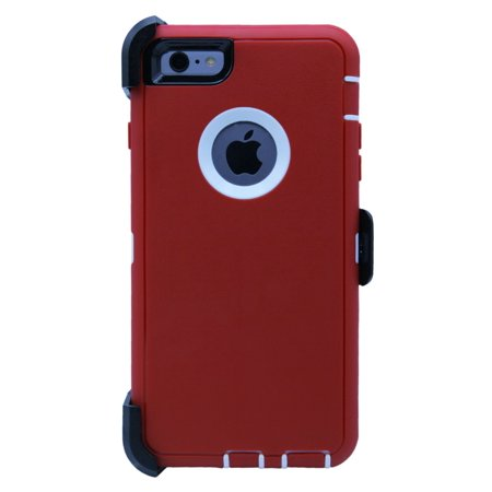 Garnet Red Case - WallSkiN Turtle Series Cases for iPhone 6 Plus / iPhone 6S Plus (Only) Full Body Protection with Kickstand & Holster - Belt Clip Works with Otterbox Defender Series Cases - Garnet (Red/White)