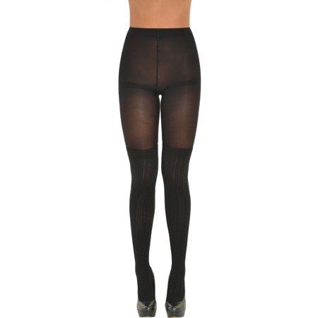 3d4e3e3e8bc MeMo Fashion - Womens Black Faux Thigh High Socks Tights Textured Pattern  Pantyhose combo Sizes  Small-Medium - Walmart.com