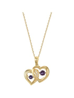 Personalized Family Jewelry Women's Jumping Gemstone Tandem Heart Pendant available in Sterling Silver, Gold over Silver, Yellow and White Gold