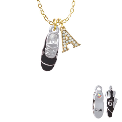 """3-D Black Running Shoe - A - Gold Tone Crystal Initial Sophia Necklace, 18""""+1"""""""