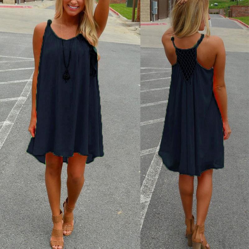 Celmia Dresses For Women Summer Round Neck Sleeveless Backless Chiffon Dress Loose Mini Dress