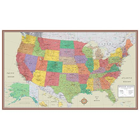48X78 Huge United States  Usa Contemporary Elite Wall Map Laminated