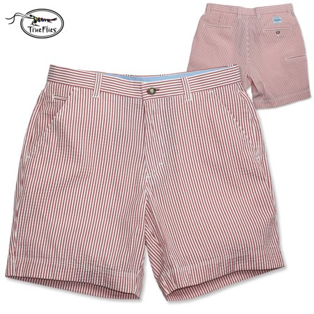 Cotton Seersucker Short - TrueFlies Gasparilla Seersucker Short (38)-NantucketRed/Salt