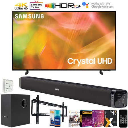 Samsung 50 Inch UHD 4K Crystal UHD Smart LED TV (2021) with Deco Gear Soundbar and Subwoofer Bundle Plus Complete Mounting and Streaming Kit for AU8000 Series (UN50AU8000)