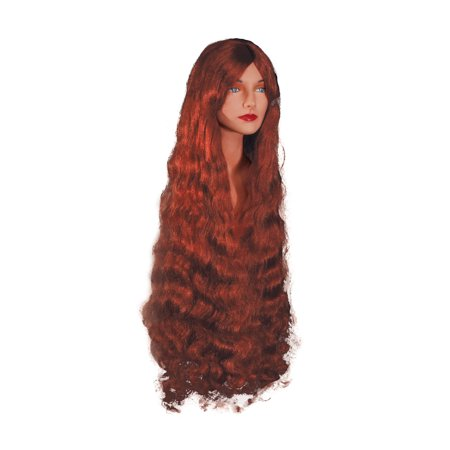Loftus Extra Long Woman Wavy Sexy Mermaid Costume Wig, Red, One Size - Long Red Wig