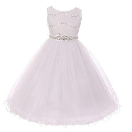 Girls Off-White Stretch Lace Glitter Sash Junior Bridesmaid Dress