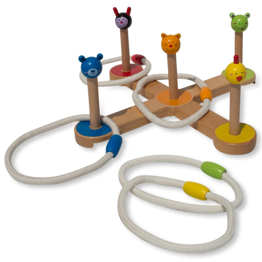 12 Pieces Wooden Ring Toss Game