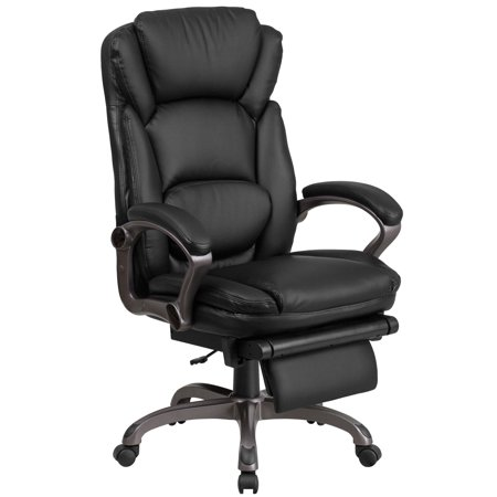 Flash Furniture High Back Black Leather Executive Reclining Swivel Office Chair With Padded Armrests