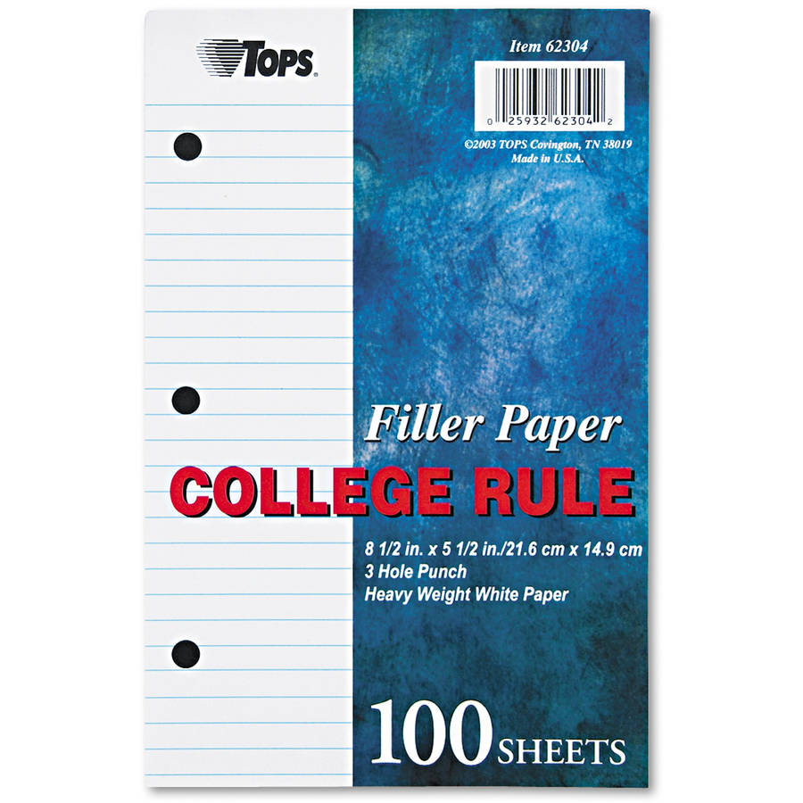 Tops College Rule Heavyweight Filler Paper, 100 Sheets