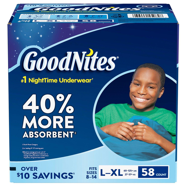 GoodNites Bedtime Underwear for Boys sizes 8 -14 - (60-125 lb.) 58 ct.